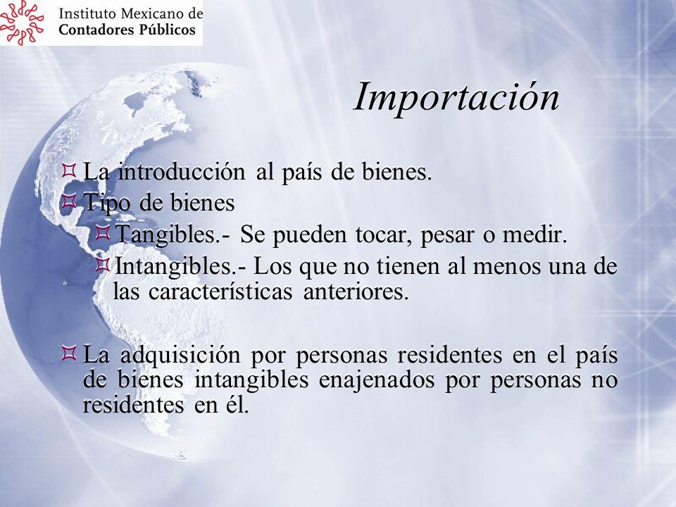 Importación La introducción al país de bienes. Tipo de bienes