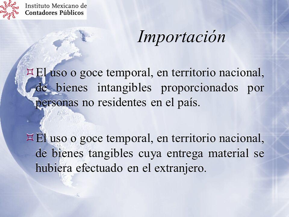 Importación El uso o goce temporal, en territorio nacional, de bienes intangibles proporcionados por personas no residentes en el país.