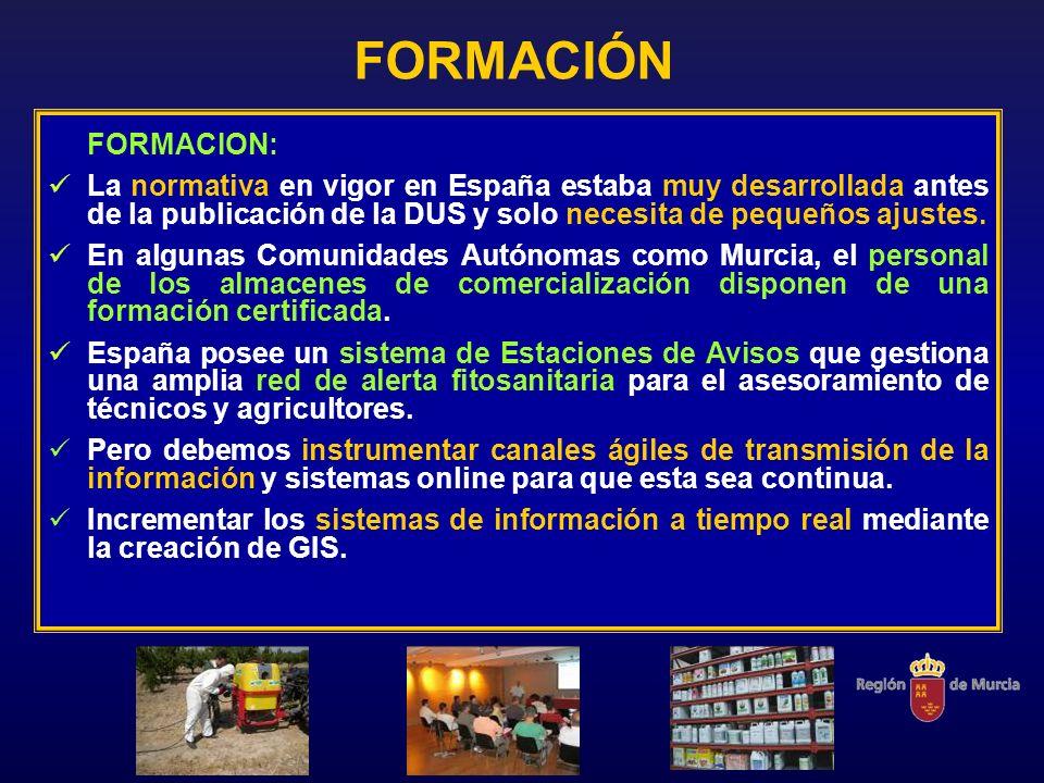 FORMACIÓN FORMACION: La normativa en vigor en España estaba muy desarrollada antes de la publicación de la DUS y solo necesita de pequeños ajustes.