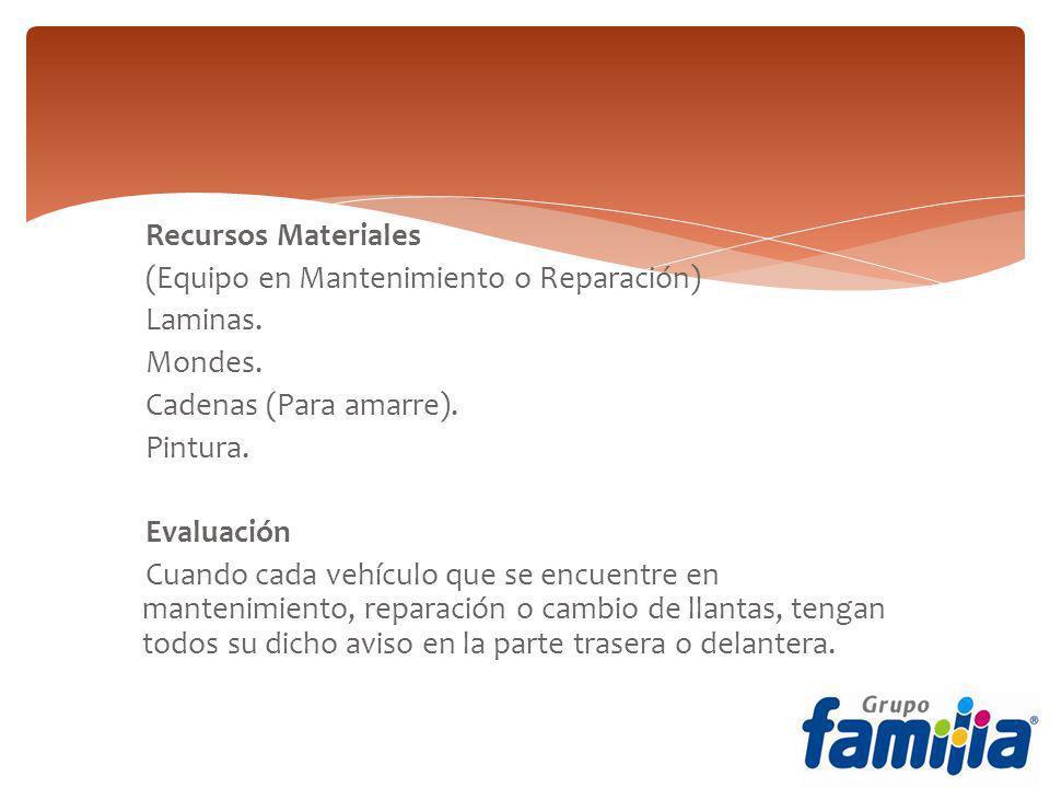 Recursos Materiales (Equipo en Mantenimiento o Reparación) Laminas. Mondes. Cadenas (Para amarre).