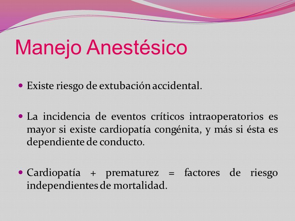 Manejo Anestésico Existe riesgo de extubación accidental.