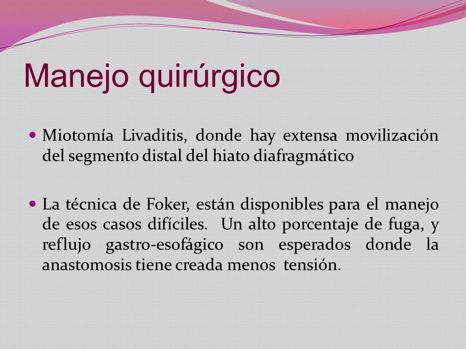 Manejo quirúrgico Miotomía Livaditis, donde hay extensa movilización del segmento distal del hiato diafragmático.