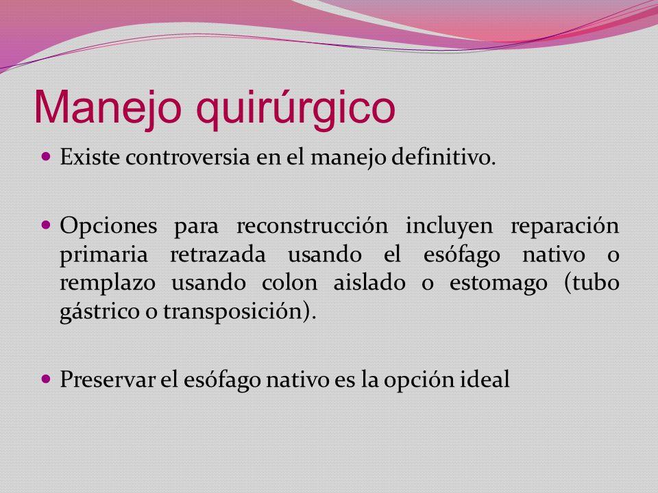 Manejo quirúrgico Existe controversia en el manejo definitivo.