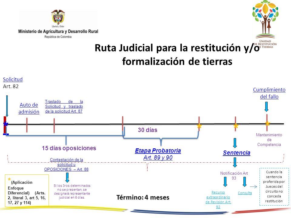 Ruta Judicial para la restitución y/o formalización de tierras