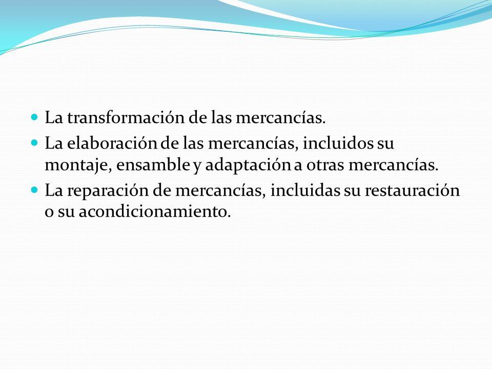 La transformación de las mercancías.