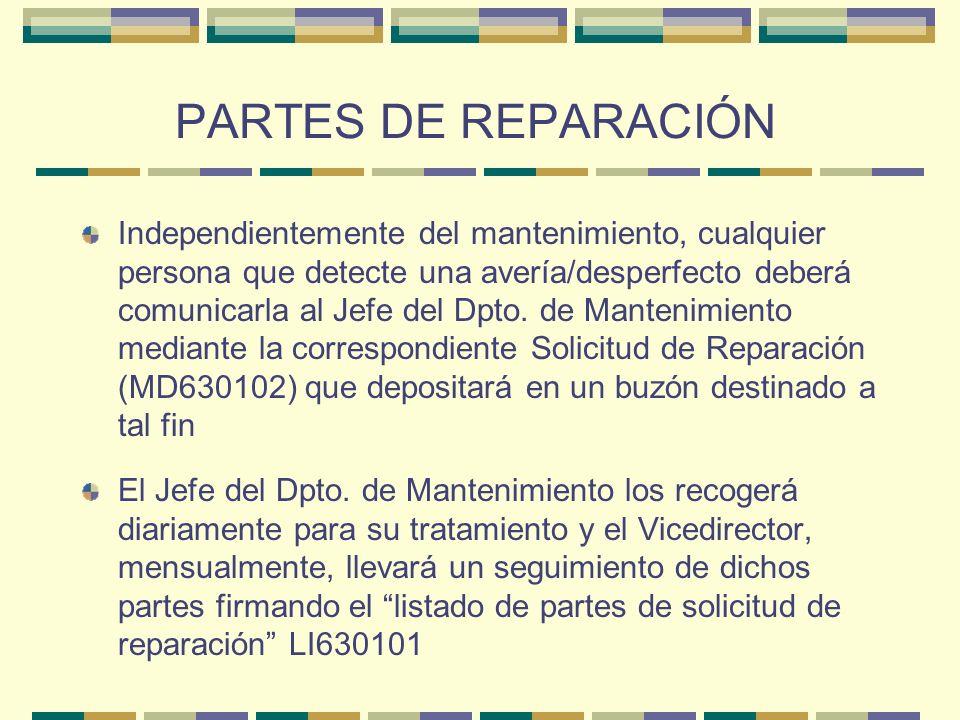 PARTES DE REPARACIÓN