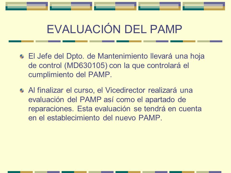 EVALUACIÓN DEL PAMP El Jefe del Dpto. de Mantenimiento llevará una hoja de control (MD630105) con la que controlará el cumplimiento del PAMP.