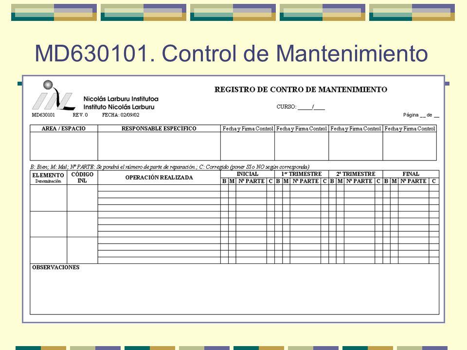 MD630101. Control de Mantenimiento