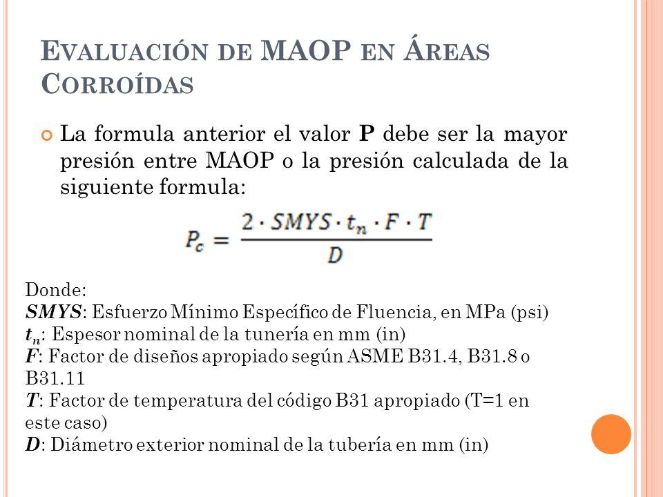 Evaluación de MAOP en Áreas Corroídas