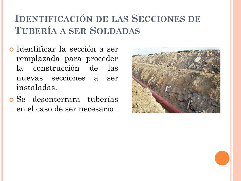 Identificación de las Secciones de Tubería a ser Soldadas