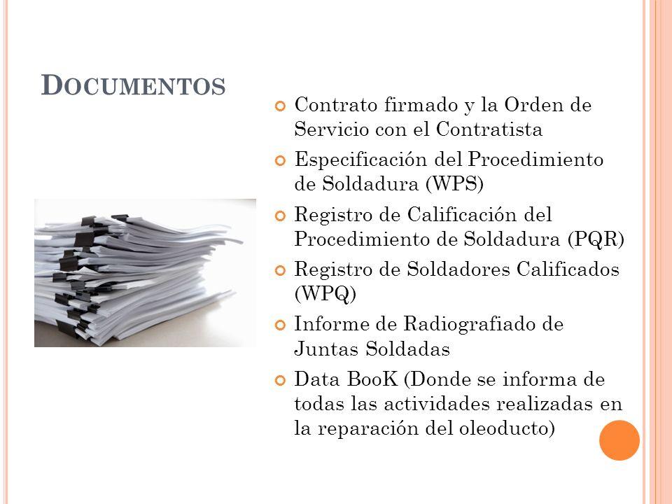 Documentos Contrato firmado y la Orden de Servicio con el Contratista