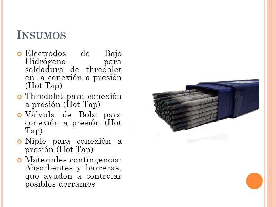 Insumos Electrodos de Bajo Hidrógeno para soldadura de thredolet en la conexión a presión (Hot Tap)