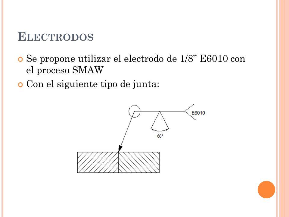 Electrodos Se propone utilizar el electrodo de 1/8 E6010 con el proceso SMAW.