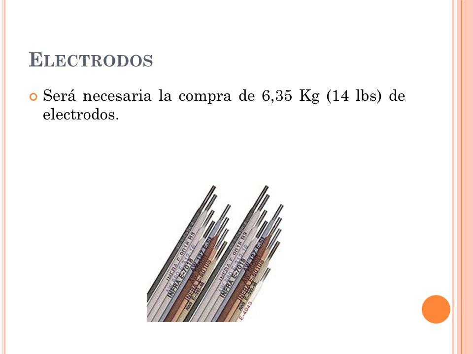Electrodos Será necesaria la compra de 6,35 Kg (14 lbs) de electrodos.