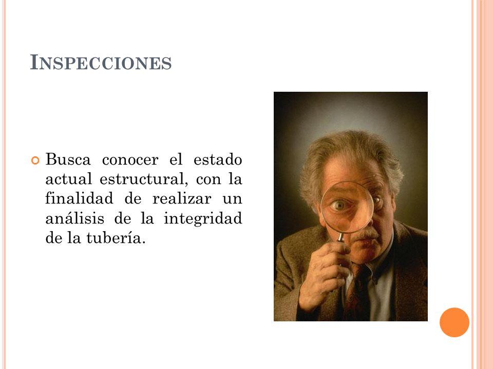 Inspecciones Busca conocer el estado actual estructural, con la finalidad de realizar un análisis de la integridad de la tubería.