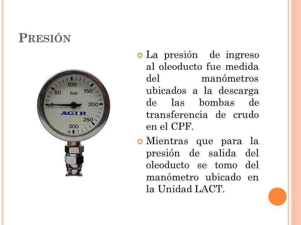 Presión La presión de ingreso al oleoducto fue medida del manómetros ubicados a la descarga de las bombas de transferencia de crudo en el CPF.