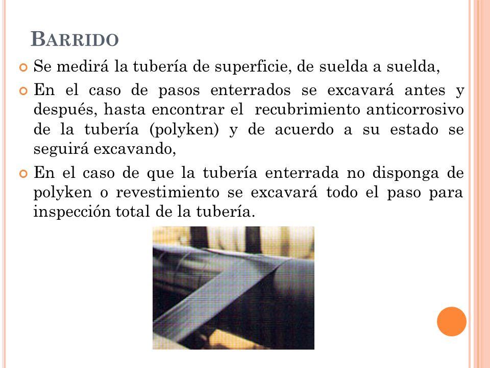 Barrido Se medirá la tubería de superficie, de suelda a suelda,