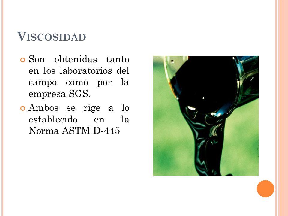 Viscosidad Son obtenidas tanto en los laboratorios del campo como por la empresa SGS.