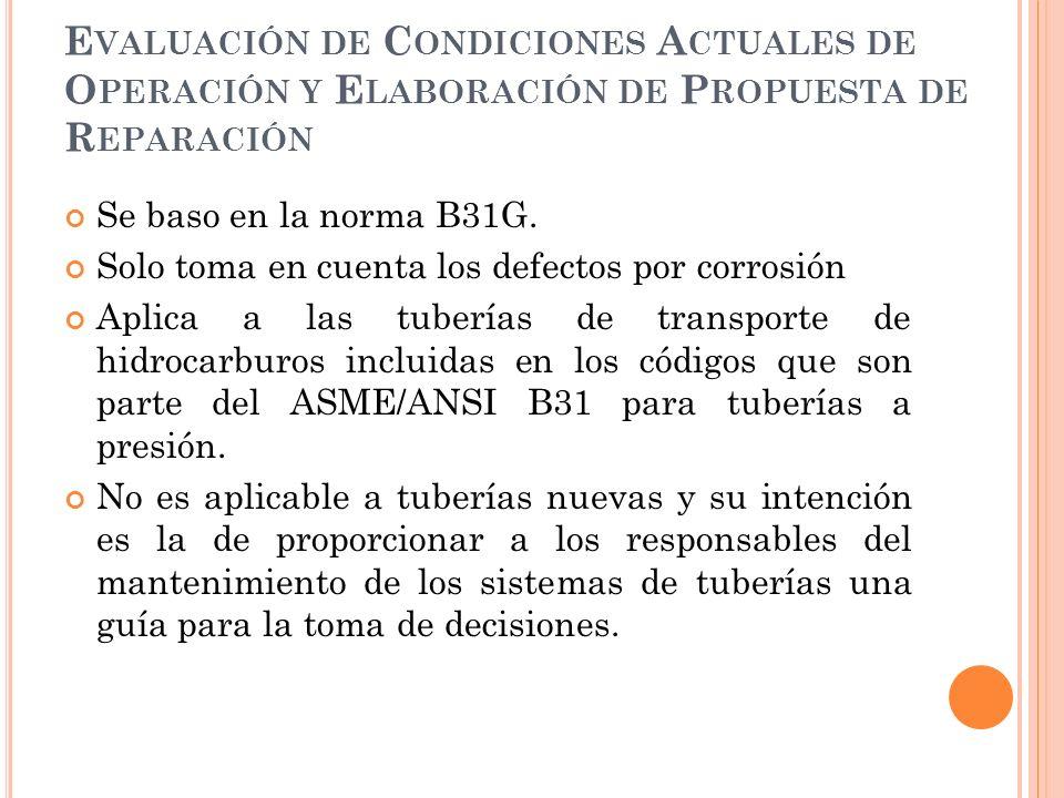 Evaluación de Condiciones Actuales de Operación y Elaboración de Propuesta de Reparación