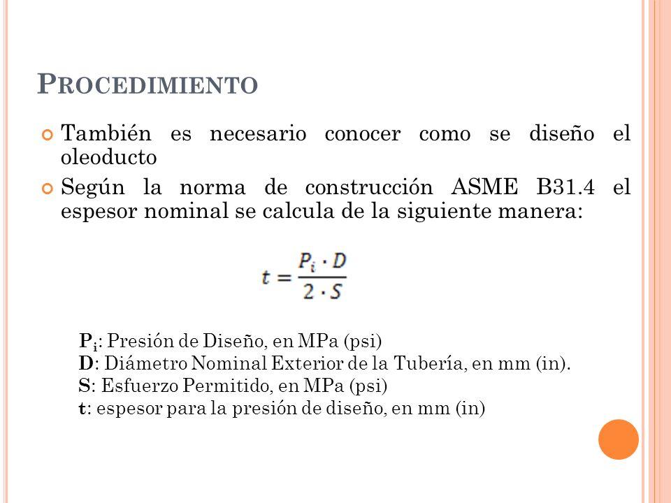 Procedimiento También es necesario conocer como se diseño el oleoducto