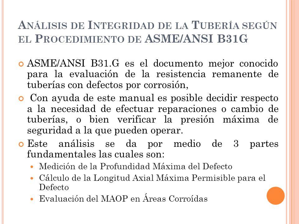 Análisis de Integridad de la Tubería según el Procedimiento de ASME/ANSI B31G