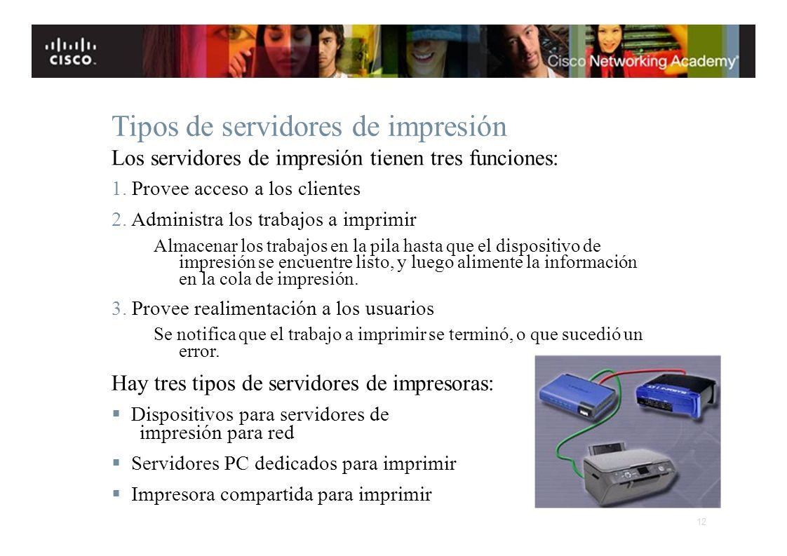 Tipos de servidores de impresión