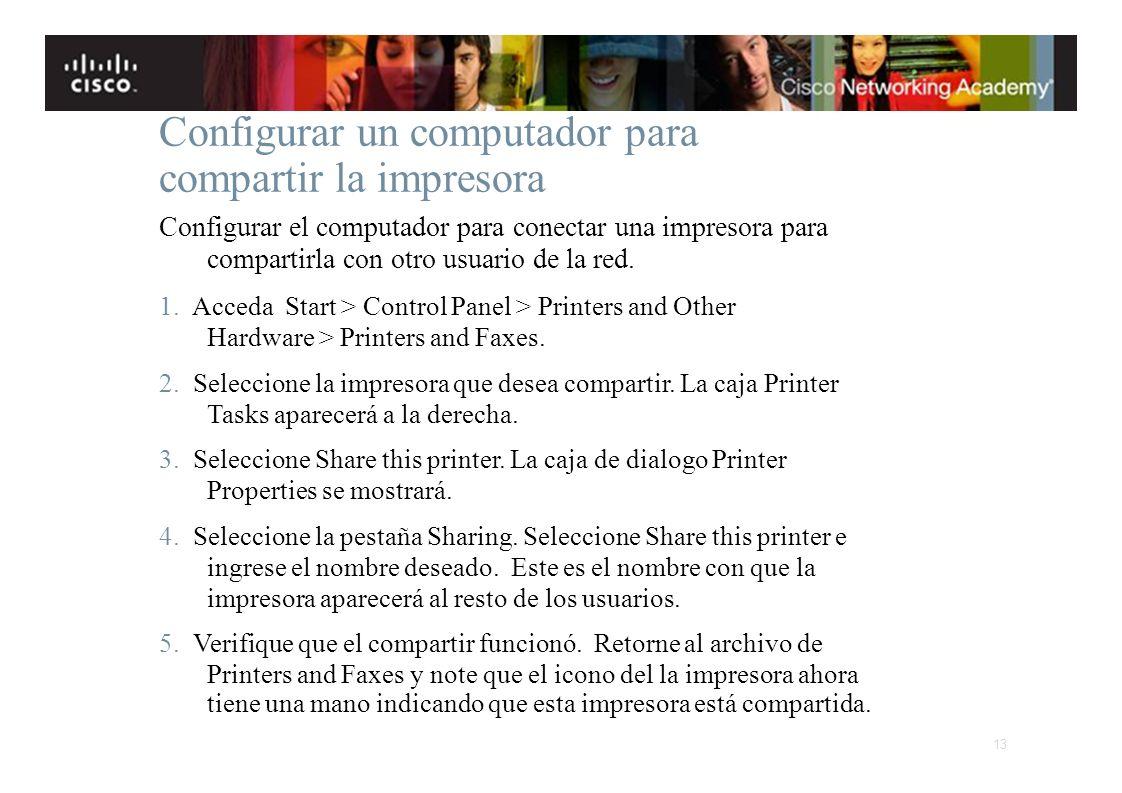 Configurar un computador para compartir la impresora