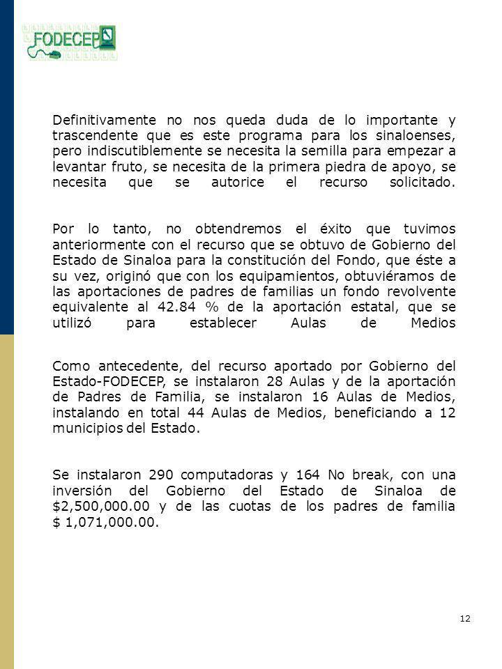 Definitivamente no nos queda duda de lo importante y trascendente que es este programa para los sinaloenses, pero indiscutiblemente se necesita la semilla para empezar a levantar fruto, se necesita de la primera piedra de apoyo, se necesita que se autorice el recurso solicitado. Por lo tanto, no obtendremos el éxito que tuvimos anteriormente con el recurso que se obtuvo de Gobierno del Estado de Sinaloa para la constitución del Fondo, que éste a su vez, originó que con los equipamientos, obtuviéramos de las aportaciones de padres de familias un fondo revolvente equivalente al 42.84 % de la aportación estatal, que se utilizó para establecer Aulas de Medios