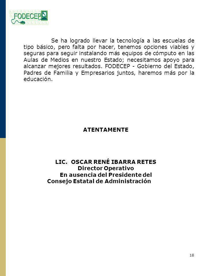 LIC. OSCAR RENÉ IBARRA RETES Director Operativo