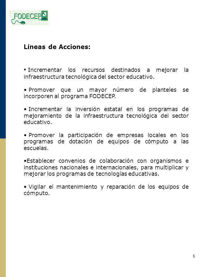 Líneas de Acciones: Incrementar los recursos destinados a mejorar la infraestructura tecnológica del sector educativo.