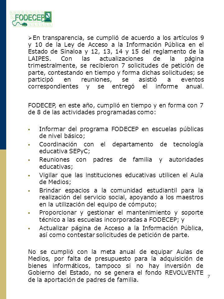 Informar del programa FODECEP en escuelas públicas de nivel básico;