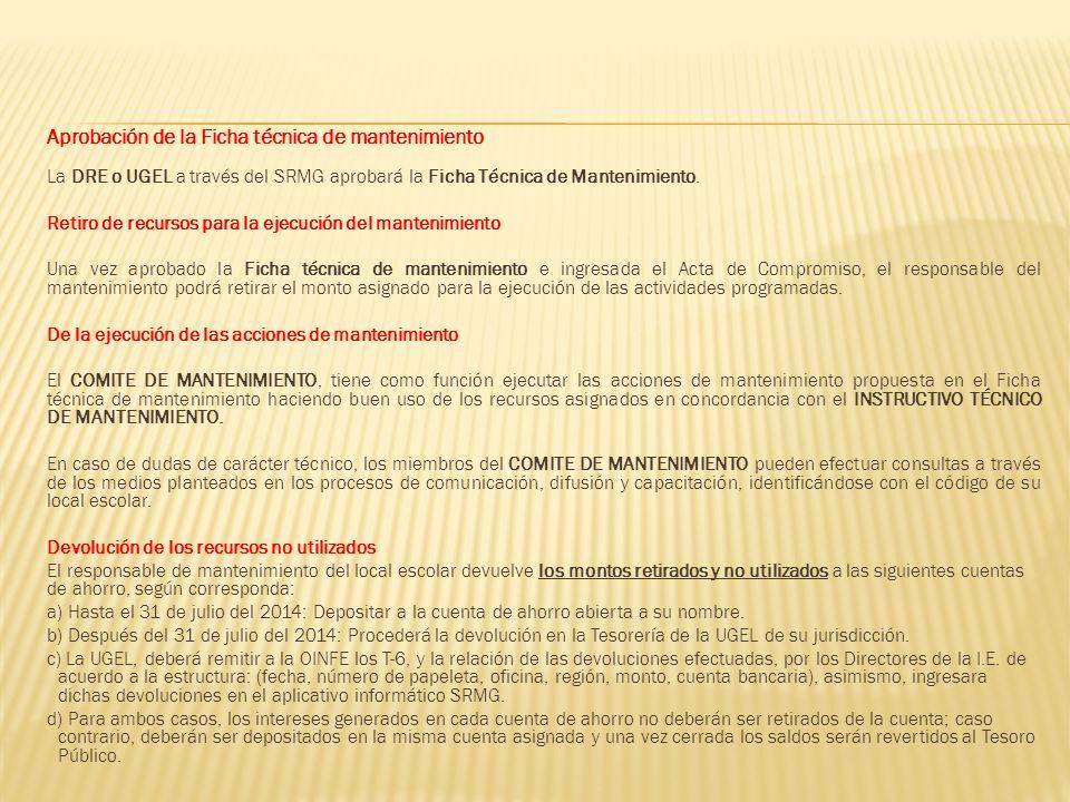 Aprobación de la Ficha técnica de mantenimiento