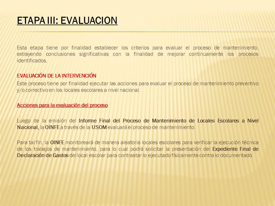 ETAPA III: EVALUACION