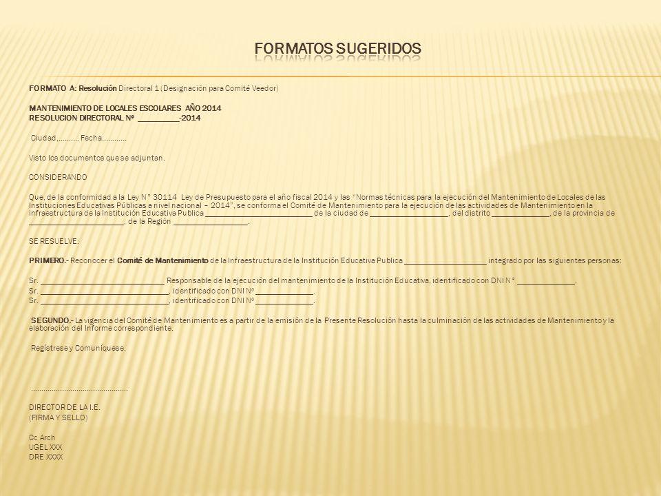 FORMATOS SUGERIDOS FORMATO A: Resolución Directoral 1 (Designación para Comité Veedor) MANTENIMIENTO DE LOCALES ESCOLARES AÑO 2014.
