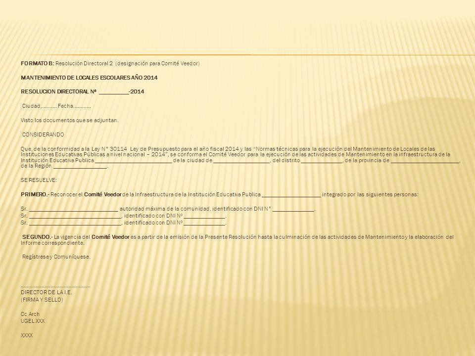 FORMATO B: Resolución Directoral 2 (designación para Comité Veedor)
