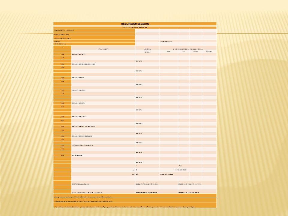 DECLARACION DE GASTOS MANTENIMIENTO DE LOCALES ESCOLARES 2014