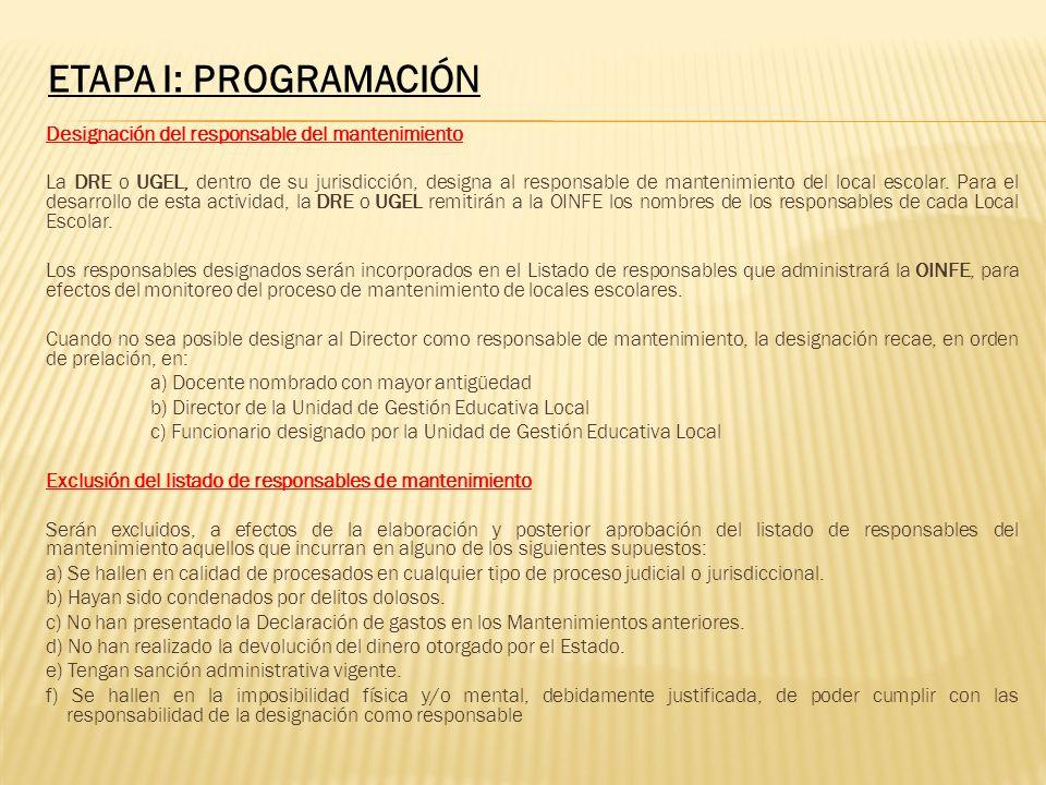 ETAPA I: PROGRAMACIÓN Designación del responsable del mantenimiento