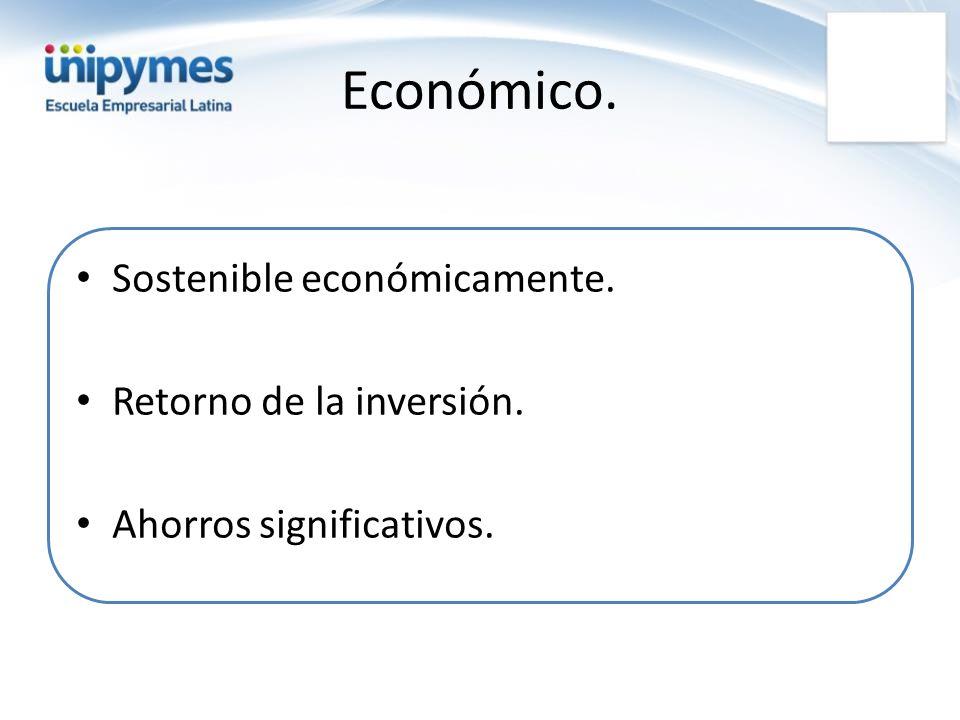 Económico. Sostenible económicamente. Retorno de la inversión.