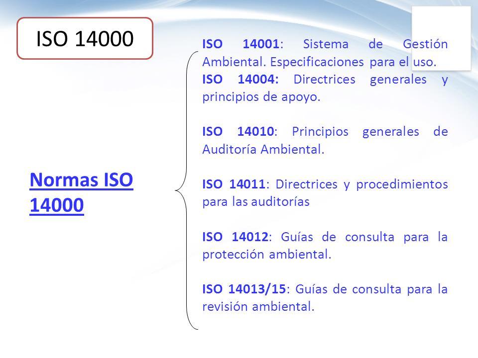 ISO 14000 ISO 14001: Sistema de Gestión Ambiental. Especificaciones para el uso. ISO 14004: Directrices generales y principios de apoyo.