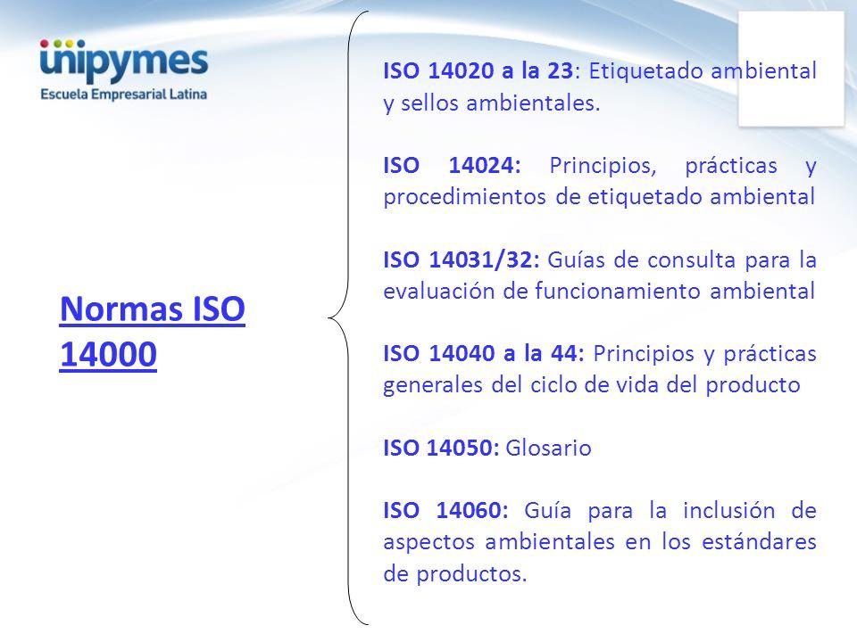 ISO 14020 a la 23: Etiquetado ambiental y sellos ambientales.