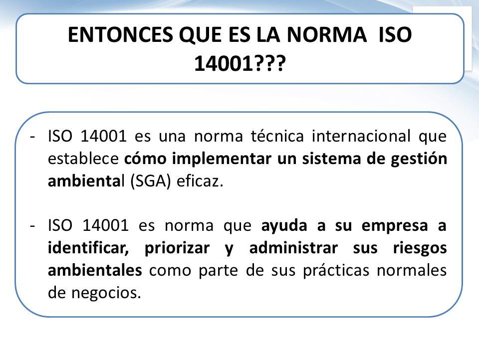 ENTONCES QUE ES LA NORMA ISO 14001
