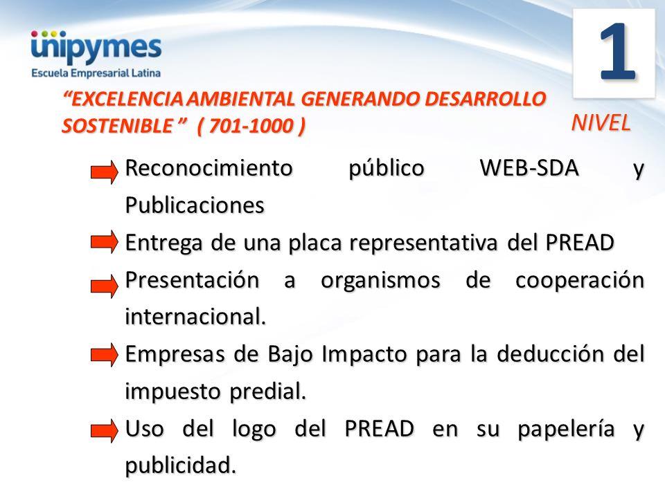1 NIVEL Reconocimiento público WEB-SDA y Publicaciones