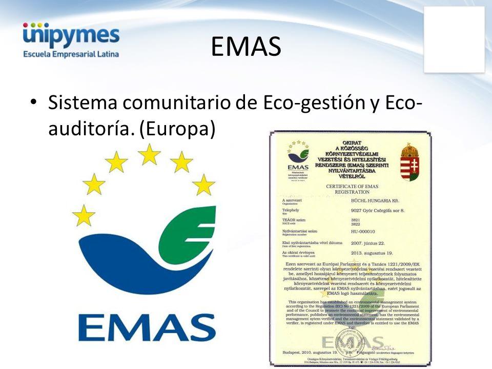 EMAS Sistema comunitario de Eco-gestión y Eco-auditoría. (Europa)