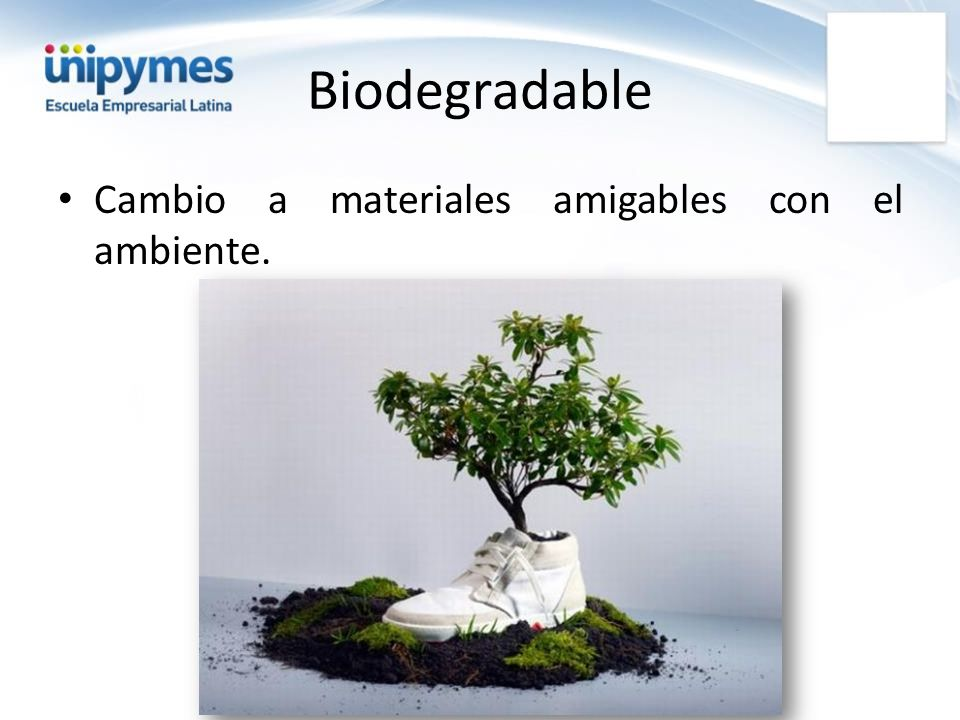 Biodegradable Cambio a materiales amigables con el ambiente.