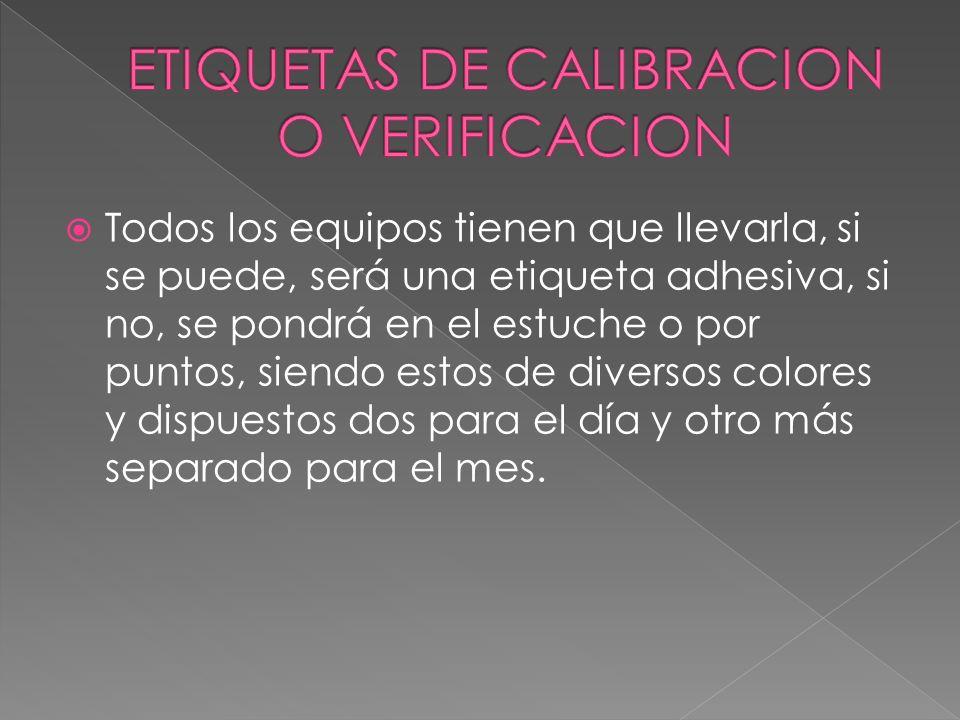ETIQUETAS DE CALIBRACION O VERIFICACION