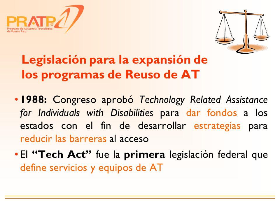 Legislación para la expansión de los programas de Reuso de AT