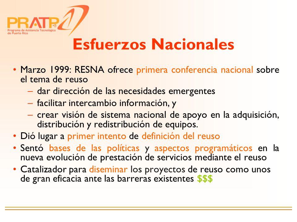 Esfuerzos Nacionales Marzo 1999: RESNA ofrece primera conferencia nacional sobre el tema de reuso. dar dirección de las necesidades emergentes.