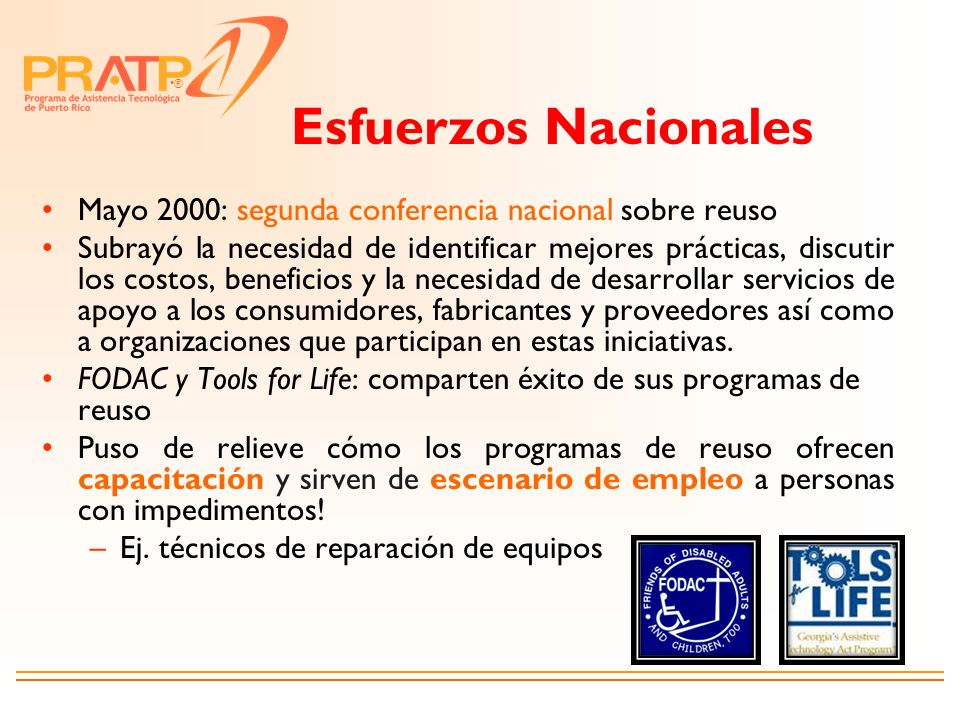 Esfuerzos Nacionales Mayo 2000: segunda conferencia nacional sobre reuso.