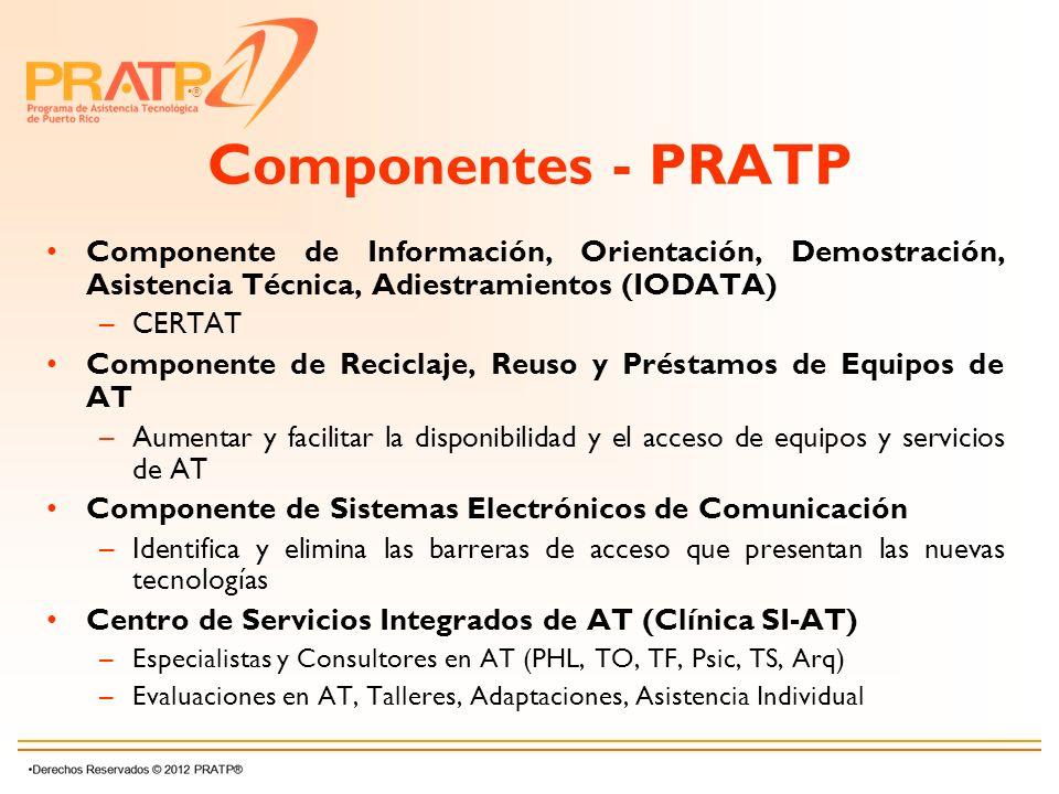 Componentes - PRATP Componente de Información, Orientación, Demostración, Asistencia Técnica, Adiestramientos (IODATA)