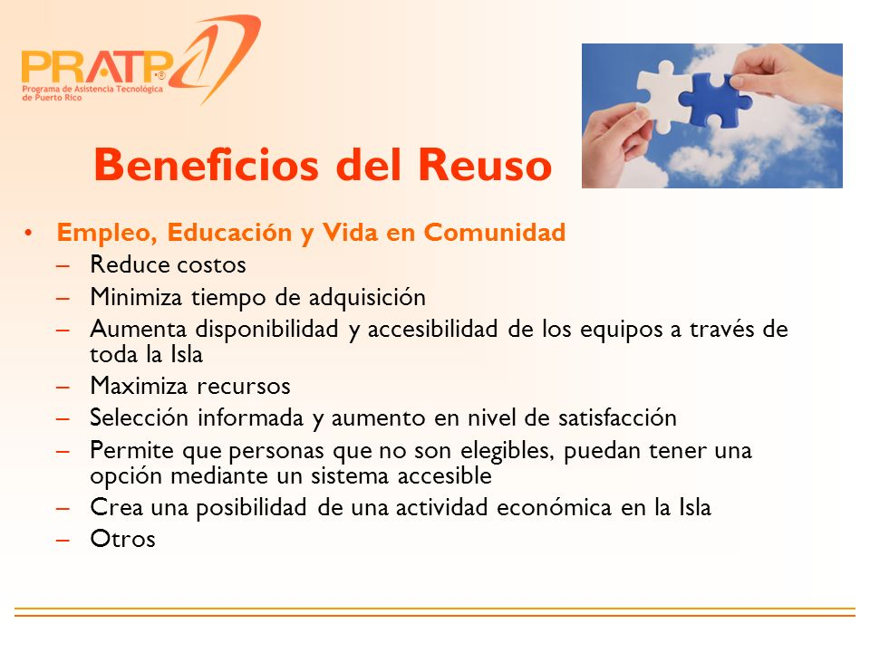 Beneficios del Reuso Empleo, Educación y Vida en Comunidad